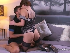 Brunette Milf in lingerie bangs in bedroom