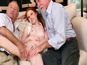 Brunette dominates old guy and skinny man with big cock Online Hook-up