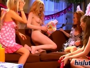 Lesbian orgy session with sexy bimbos