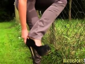 Fetish slut pee drenched