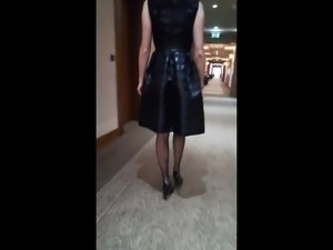 Flowermilf shows pussy through black pantyhose