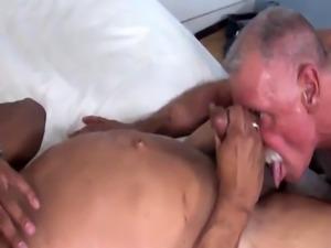 Interracial mature bears bareback fucking