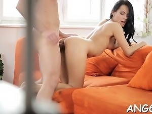 Lovely chick is engulfing studs willy passionately