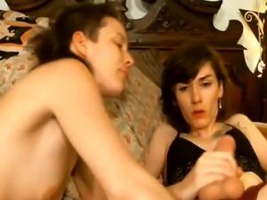 Cute Tranny Fucks with Her Female Friend