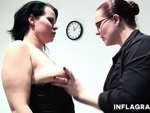 Two British mature chubby lesbians enjoy hard fucking in