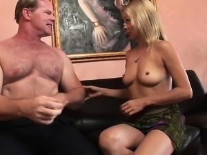 Slender blonde opens her moith wide for hard dudes cock