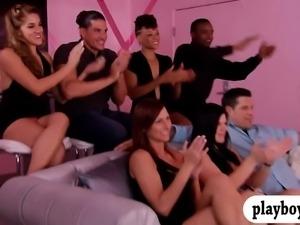 Group of newly couples enjoyed swinging and erotic games