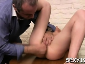 Demure chick gets her lovely love tunnel ravished by teacher