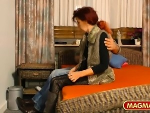 German MILF with natural tits enjoys deep penetration by