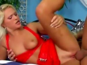 Busty blonde cougar banged sideways by step son