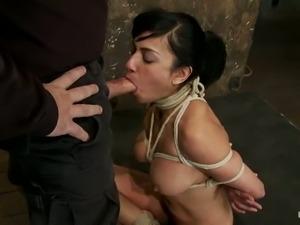 Deepthroat by a smoking hot brunette sex slave