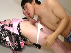 Masturbating asian tranny anally screwed