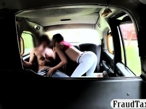 Busty passenger gets screwed by nasty driver in public