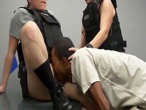 A poor black felon must lick lusty female cops's pussies and fuck