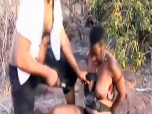 Rough outdoor deepthroat and body torment with African slut