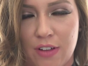 Enchantingly hot babe Maddy O'Reilly takes on two hard cocks at once