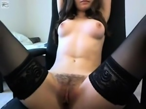 Very Cute Brunette Masturbating On Webcam