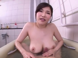 Japanese woman with big boobs sprayed with cum after a hot game