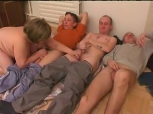 Chubby wife with natural knockers has a foursome with three guys