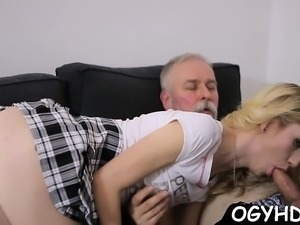Beautiful young honey gets brave to suck old cock of a boy