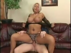 Blonde Milf With Huge Tits in Fishnets SM65