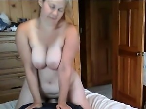 Hungry mature blonde with big boobs seduces man