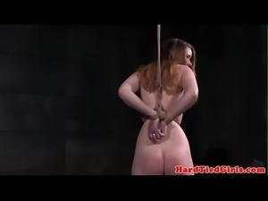 Strappado submissive whipped in bdsm