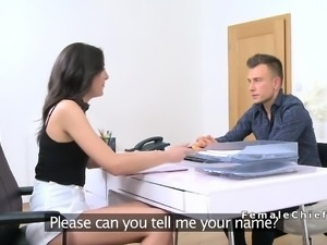 Amateur guy and female agent had full sex