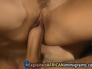 Slutty African babes takes white cocks in foursome