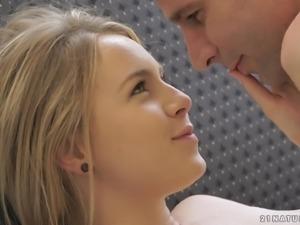 Petite blonde sweetheart slides a stiff prick in her moist snatch