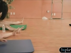 Hot girls and busty yoga teacher does yoga while naked
