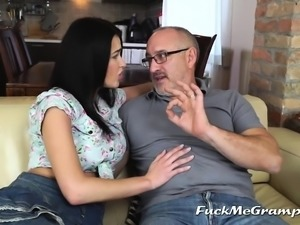 Teen horny for grandpa's dick