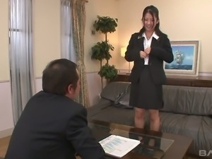 Pretty sexy Japanese office hottie gets her hairy pussy fucked missionary