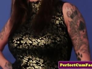 Busty inked Britt demands cock and facial