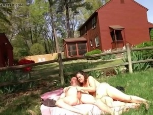 Amateur couple fucks at the ranch