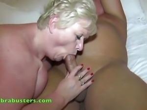 Older British blonde giving head