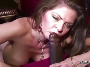 Milf Seduce Black Friend of her Son to Fuck her when alone