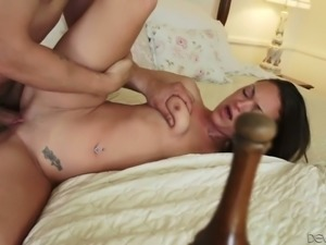 Brunette Olivia Wilder is having passionate sex with one kinky dude