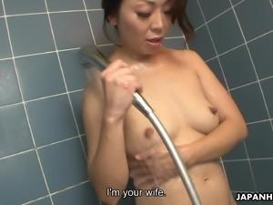 Solo busty Asian bimbo rubbing on her wet cunt
