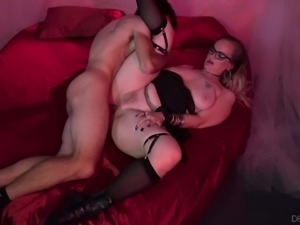 Granny Lilith C has her tits creamed after wild pussy wasting