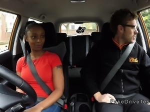 Natural busty ebony fucks instructor in his car