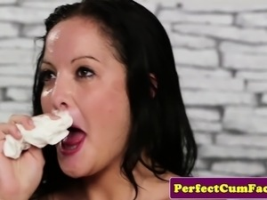 Casting babe cleans facial after sloppy blowjob