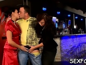 Hot sex party for fully dressed babes