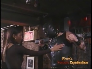 kinky studs in a mask gets the pleasure of being spanked Asian whore