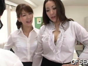 Horny colleagues getting sexy and in the workplace