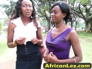 Hot African lesbians enjoy showering together