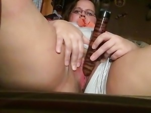 Chubby older woman masturbates at home