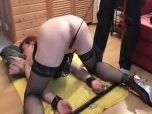 Bound squirting sub fisted to massive orgasms