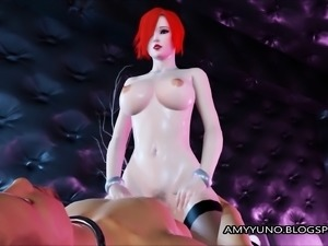 Thick Virtual Emo Redhead With Big Tits Rides On Her BF!