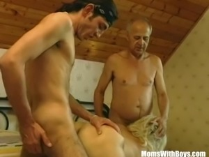 Hairy Pussy Blonde Mature Fumbled By Two Cock